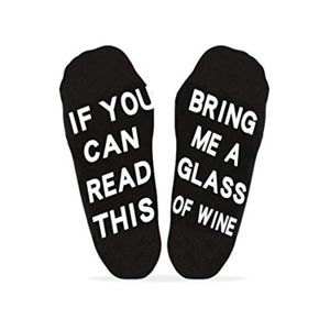 Other - If you can read this.. wine funny sock black white